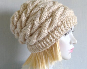 Hand Knit Hat Slouchy Beanie Womens Hat Slouchy Hat Oversized Cable Hat  Goth Hat Parisian Style Cable Hat Women Hat Knitted Beanie