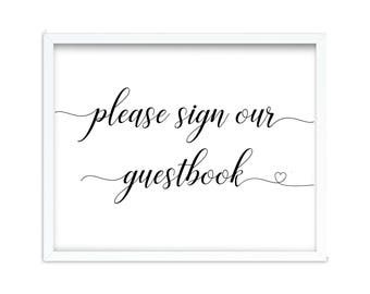 Please Sign Our Guestbook Printable | Please Sign Our Guest book | Sign Our Guestbook | Black and White | Please Sign Wedding Reception Sign