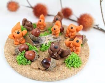 Plateau d'écureuils en porcelaine froide