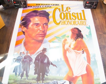 THE HONORARY CONSUL (1983) Richard Gere Very Rare 4 x 6 ft french Grande Rolled Giant Movie Poster Original Vintage Collectible