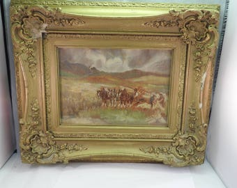 A Framed Oil on Board, Casting Hay, Midlothian, Paper Labels Verso, Exhibited New Gallery Edinburgh 1933