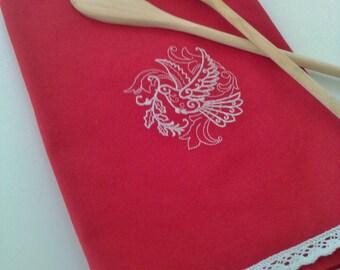 Kitchen towel, embroidered towel, cotton dish towel, hand towel, flour sack towels