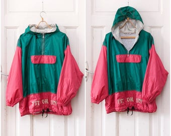 80s Windbreaker 90s Ski Jacket Womens XL Pullover Anorak Kangaroo Pocket Hoodie Green Pink Colorblock Windbreaker Mens Large Sports Jacket L