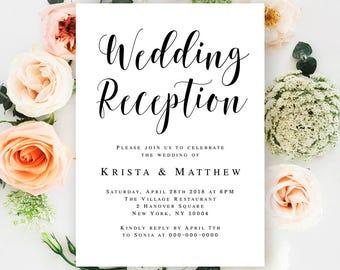 Wedding reception invitation printable Reception party invitation template Editable invitation template Rustic wedding reception ideas #vm31