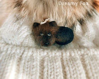 Needle felted Yorkshire terrier brooch