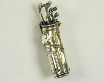 Vintage Beau Sterling 925 Silver Golf Golfing Clubs Golf Bag Pin Brooch 6 Grams Sterling Sporting Jewelry