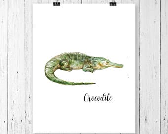 Crocodile Art Print | Safari Animal | Nursery Art | Watercolor | Gallery Wall | Instant Download | Digital Print | JPEG | 11x14 | 101
