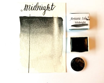 Half pan Midnight Black, midnight, watercolor, handmade, handmade paint, paint, art, calligraphy, watercolor painting, artistic isle, travel