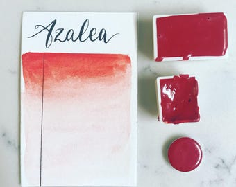 Azalea, azo red, italian red, red, watercolor, handmade paint, handmade watercolor, artist paint, calligraphy, brush lettering, painting