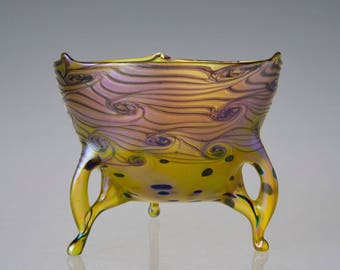 Yellow Glass Bowl. Hand Blown Iridescent Art Glass. Bohemian Art Glass.