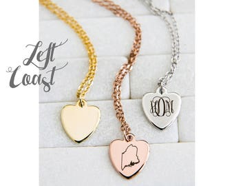 Maine State Necklace Heart Pendant Personalized Hand Stamped Gift Mom Mother Engraved Initials Monogram Rose Gold Silver Ships Fast