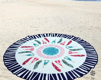 "Large Round Beach Towel Circle Rounded Towels 150cm (59"") – Ref Indiana"