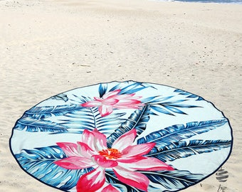 "Large Round Beach Towel Circle Rounded Towels 150cm (59"") – Ref Flower Power"