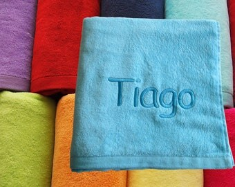 """Personalized Embroidered Large Beach Towel - 100% Cotton - Size 100cm x 180cm (39"""" x 71"""")"""