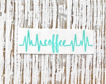 Coffee Heartbeat Decal | Coffee Decal | Coffee Addict Decal | Mug Decal | Coffee Mug Decal | Coffee Cup Decal