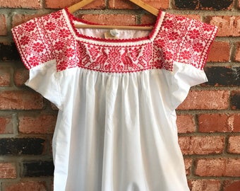 Embroidered Mexican Blouse - L White
