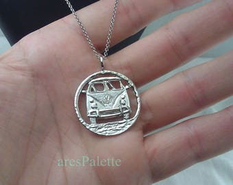 Volkswagen T 1 Bus Necklace - 925 Silver / Handmade Free Shipping and special gifts