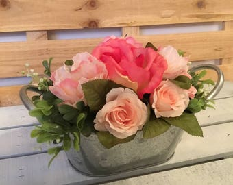 Pink Floral Arrangement, Pink Floral Centerpiece, Wedding Flowers, Bridal Shower Flowers, Rose Floral Arrangement, Rustic Flower Arrangement