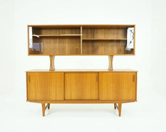 D199 Danish Mid Century Modern Teak Sideboard Buffet Glass Hutch Credenza