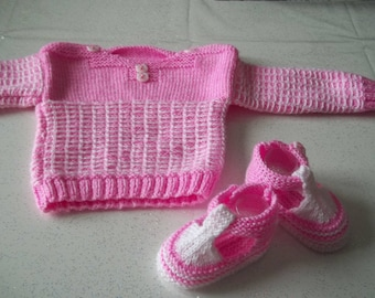 sailor and booties - handmade knit baby 0/3 months-