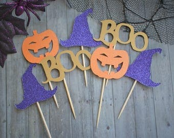 Halloween Cupcake Toppers, Cupcake Toppers, Pumpkin Cupcake Toppers, Halloween Party Decor, Halloween Decor, Halloween Party