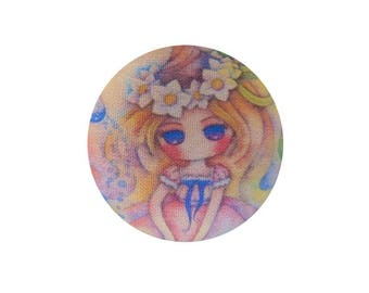 1 cabochon 22mm x BOUT11 flowers girl fabric