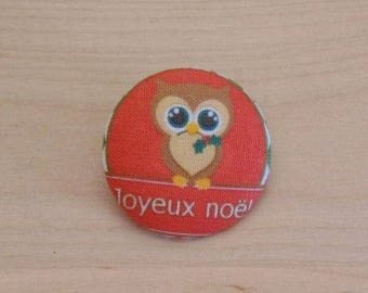 1 button x 38mm ref A35 Christmas OWL fabric