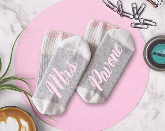 Wedding Socks Personalized Bride Mrs Last Name, Engagement Photo Props, Bridal Shower Gift From Bridesmaid, Wool Crew Cut