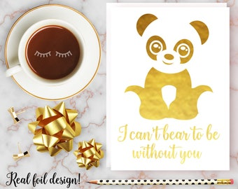 Valentine's Card, I Can't Bear to be Without You Card, Nerdy, Geeky, Cute, Panda Valentine, Anniversary Card, Girlfriend, Boyfriend, Her