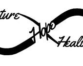 """Custom """"future, hope, healing"""" aluminum infinity sign 23' x 9"""""""