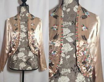 Vintage 1930s Silk Beaded Jacket // S-M