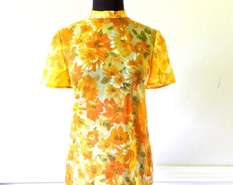 Vintage 60's sheer floral top yellow zip-back mod shirt tunic