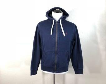 polo ralph lauren zip up cotton hoodie navy blue color size L