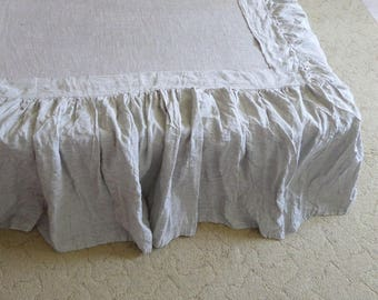 Linen dust ruffles(2 for the sides of the bed+1 for the foot)linen bed skirt linen bed panel linen bedding shabby chic Gathered Dust Ruffle