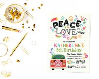 Peace love party pdf, Peace Love Party, Tie Dye, Tiedye Birthday , 60s, 70s, Hippie Invitation,Groovy Invitation,Peace and love