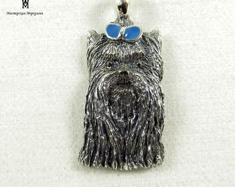 "Unique Handmade Sterling Silver 925 Pendant ""Yorkshire Terrier"" with blue enamel ,"