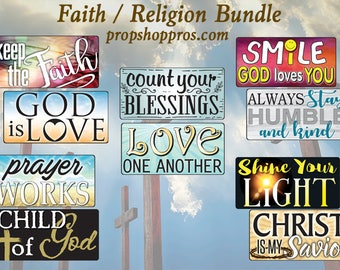 Faith Bundle | Religious Signs | Photo Booth Props