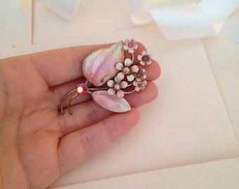 Pink Antique Flower Enamel Brooch - Light Pink Brooch - Baby Pink Brooch - 1930s Brooch - 1940s Brooch - Delicate Brooch - Spilla - Pins