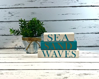 Sea Sand Waves - Shelf Sitter - Beach Decor - Beach House Decor - Nautical Decor - Beach Cottage - Shabby Chic Beach Decor - Cottage Chic