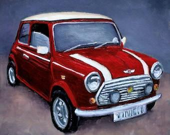 Classic Red Mini, original oil painting, Gift for him, gift for car lover, Car gift for men, Desk art, Man Cave art, Classic car memorabilia
