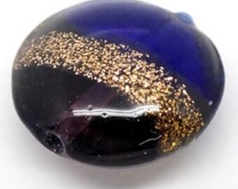 Set of 2 very beautiful blue and purple flat glass beads