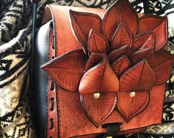 Hand tooled, handmade, lotus flower leather shoulder bag!