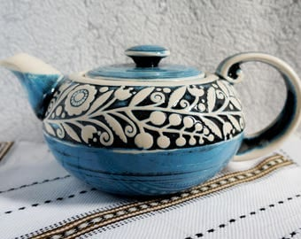 Family gift Large pottery teapot Unique teapot Sister gift Wedding gift ideas Farmhouse decor Gift idea Kitchen Anniversary gift Blue teapot