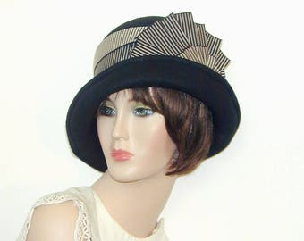 Convertible handmade Custom wool bowler cloche - Miss Fisher, Downton Abbey, Gatsby hat
