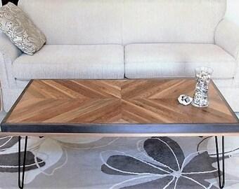 Reclaimed Wood Coffee Table, Chevron Table,  Rustic Coffee Table, Desk, Hairpin Leg Table, Reclaimed Wood Table, Salvaged Coffee Table