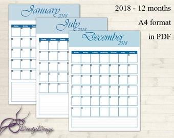 Printable Calendar 2018, Monthly Calendar Printable, Calendar Download, Calendar Print, Calendar PDF, Minimalist Calendar, Simple Calendar