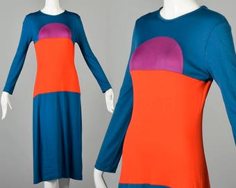 Medium Long Sleeve Knit Dress Thin Teal Dress Vintage 1970s 70s Geometric Color Block Midi Dress Tea Length
