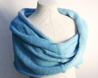 Blue christmas gift / Bridesmaid shawl / Mohair shoulder warmer / Knit oversized scarf / Nursing shawl - Azure Sea