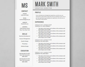 Professional Resume Template for Word - Simple CV Template - Modern Resume Template with Creative Design - MS Word *Instant Download*