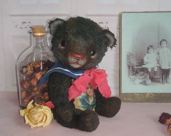 Artist teddy bear Bear sailor Valentines for her Bear girl Toy bear Teddy toy Teddy bear Black bear Valentine gift Plush bear Bear handmade